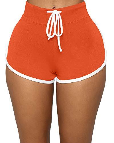 BEAGIMEG Women's Workout Yoga Elastic Waist Running Booty Hot Pants Control Gym Shorts Orange
