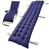 Sun Lounger Cushions Garden Patio Recliner Lounge Pad Chair Cushion Pad Seating Cover for Travel Holiday Garden Indoor Outdoor (Navy Blue, 160 x 48 cm)