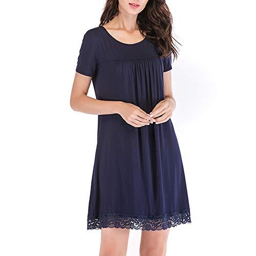Fansu Camisón Mujer Verano Pijama Camisón de Noche, Verano Elegante Camisones de Manga Corta Vestidos de Casa Cuello en O Talla Grande Ropa de Noche Sexy Pijama Vestido (XXL,Azul)