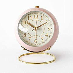 JUSTUP Silent Small Table Clocks, Classic Non-Ticking Quartz Tabletop Analog Alarm Clock Battery Operated Desk Clock with Backlight HD Glass for Bedroom Living Room Kitchen Indoor Decor (Pink)