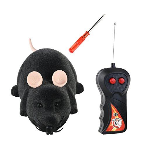 TOYMYTOY Spielzeugmäuse Fernbedienung Elektrische Ratte Plüsch Maus Spielzeug für Katzen Hunde Haustiere Kinder(Grau)