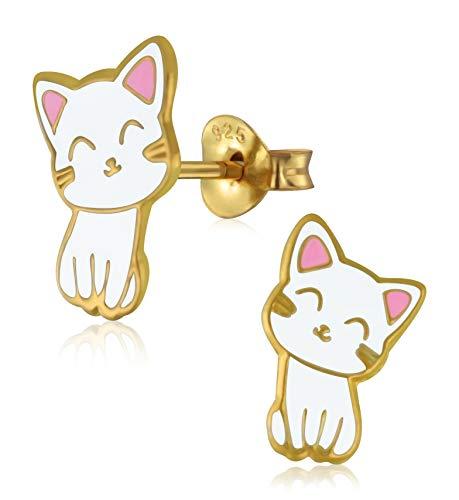 LaimonsMädchen - Pendientes para niña, joyas para niños, gato, chapado en oro, blanco, rosa, plata de ley 925