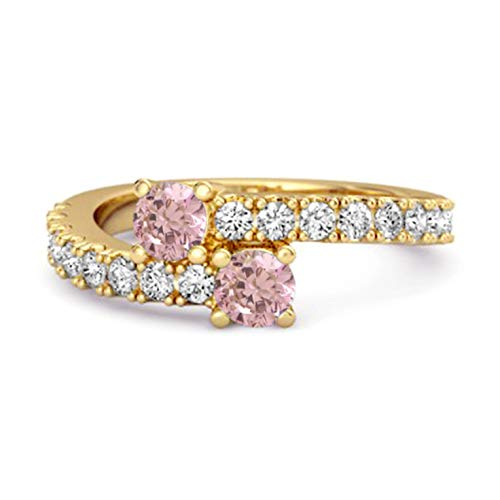 Shine Jewel Multi Elija su Piedra Preciosa 0.04 CTS Anillo único de vástago Dividido Chapado en Oro Amarillo de Plata de Ley 925 (11, topacio Rosa)