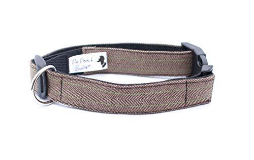 Pet Pooch Boutique Hundehalsband, Tweed, Größe M, Braun