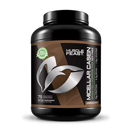MUSCLE FEAST Grass Fed Micellar Casein, All Natural, Hormone Free, Slow Digesting, 100% Pure, 19g Protein, 88 Calories (Chocolate, 4lb)