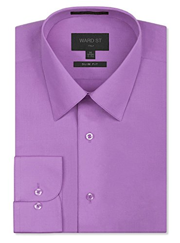Ward St Men's Slim Fit Dress Shirts, Large, 16-16.5N 34/35S, Lilac