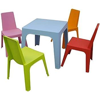 resol Julieta set infantil para interior, exterior, jardín - 1 Mesa Azul + 4 Sillas Roja/Rosa/Naranja/Lima: Amazon.es: Hogar