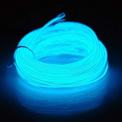 Flexibel 5M(16.4ft)Neon Beleuchtung Draht Lichtschlauch Leuchtschnur El Kabel Wire für Partybeleuchtung Weihnachtsfeiern Disco Party Kinder Halloween Kostüm Kleidung (Eisblau)