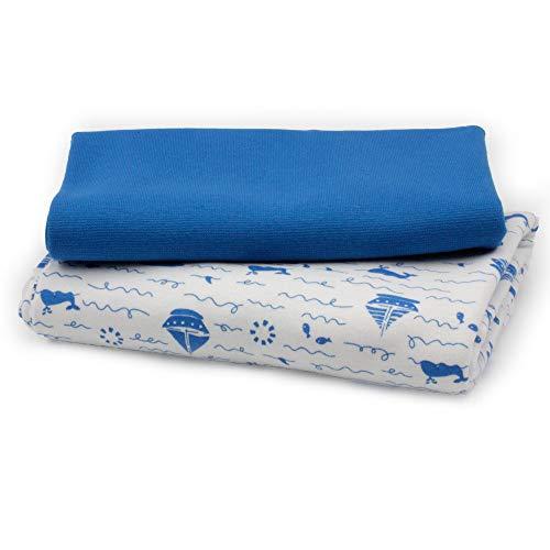 0,5x1,5m Jersey & 0,25x1,4m Bündchen Uni XXL BREIT (Schlauchware 2x70cm) Stoffpaket 100% Baumwolle (Boote Blau)