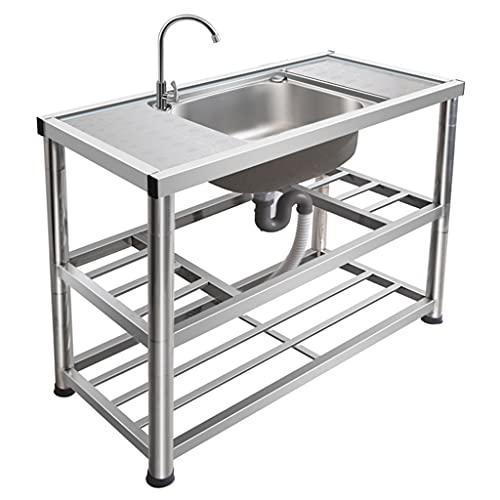 Lavabo lavabo multifunzionale professionale e domestico, lavabo semplice con supporto, lavabo portatile da esterno, larghezza 100 cm x profondità 45 cm x altezza 80 cm, altezza regolabile in base al