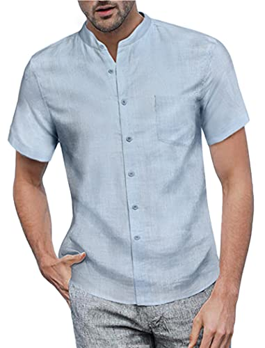 COOFANDY Mens Linen Shirt Casual Button Down Short Sleeve Workout Loose Fit Banded Collar Shirts Clear Blue