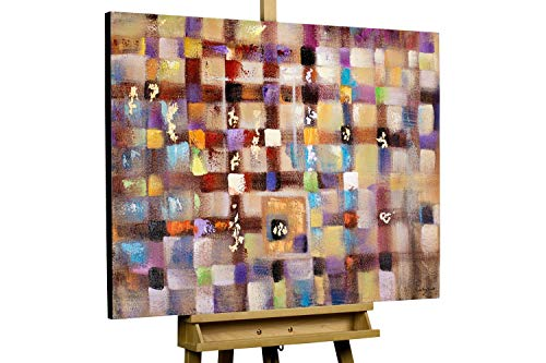 KunstLoft® Acryl Gemälde 'Perspective of Choice' 100x75cm | original handgemalte Leinwand Bilder XXL | Abstrakt Bunt auf Grau | Wandbild Acrylbild moderne Kunst einteilig mit Rahmen