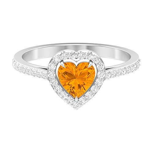 Anillo solitario de zafiro naranja con forma de corazón, 6 mm, diseño de corazón, anillo de compromiso de oro (calidad AAAA), 14K Oro blanco, Size:EU 61