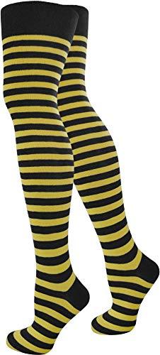 normani Top modische Damen Overknees in verschiedenen Designs/Baumwolle mit Elasthan Auswahl Farbe Schwarz/Gelb/Schmal Größe OneSize