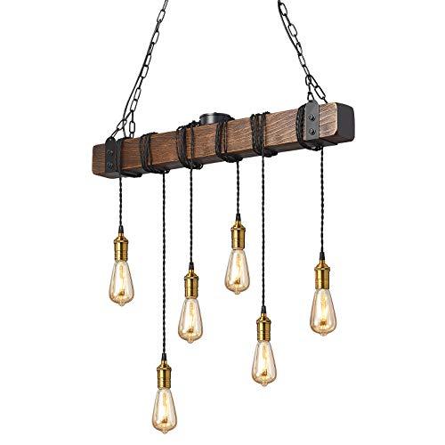 KJLARS Iluminación colgante industrial retro Lámparas de araña de suspensión en metal negro y madera lámpara colgante rústica ideal en un salón retro Cocina rústica Salón 80cm haz (6 luces)