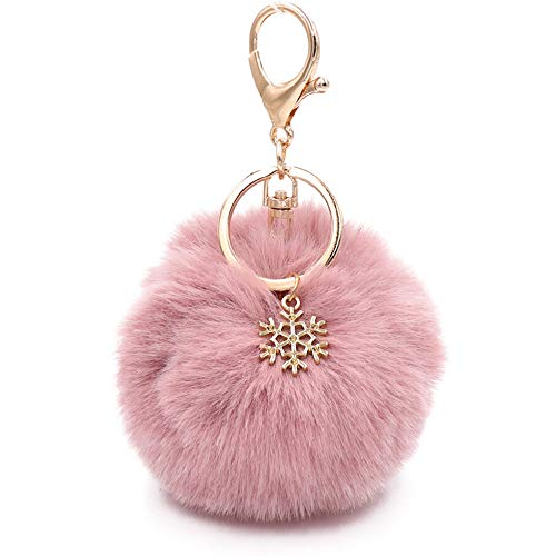 Kinglighten Faux Fur Pom Pom Keychain Purse Bag Charm Fluffy Ball Key Chain for Women (pale pinkish grey), 6 Inch