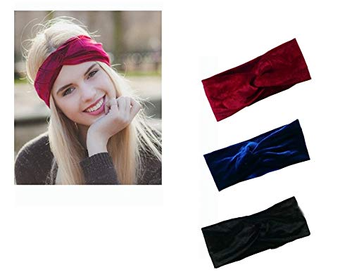 takestop® haarband, elastisch, 2 stuks, met fluweel effect, gevlochten, met strik, AnNODATA Retro FERMACAPELLI stof kleur willekeurig