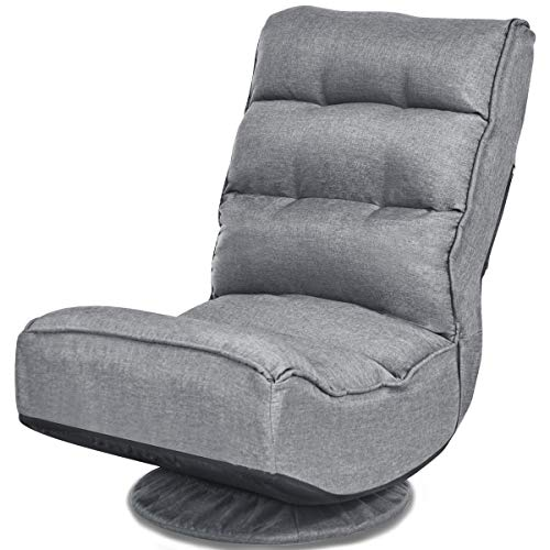 CASART. Foldable Floor Chair, 5 Position Adjustable 360 Degree Swivel Recliner with Breathable Sponge Seat, High Back Lazy Sofa Chair