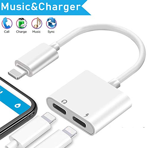 Headphone jack adapter for iphone 11 Adapter splitter charger and headphones for iPhone Earphone dongle Compatible with iPhone 11/XR/XS/X/7/8 Audio & Charger & Call & sync Cable Support All iOS System