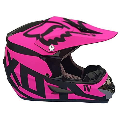 NINOMI Cascos De Motocross, con Gafas + Guantes + Máscara Casco De Montar para Adultos Cuesta Abajo DH Motocicleta Todoterreno Am Casco Integral De Bicicleta De Montaña (Rosa Mate)