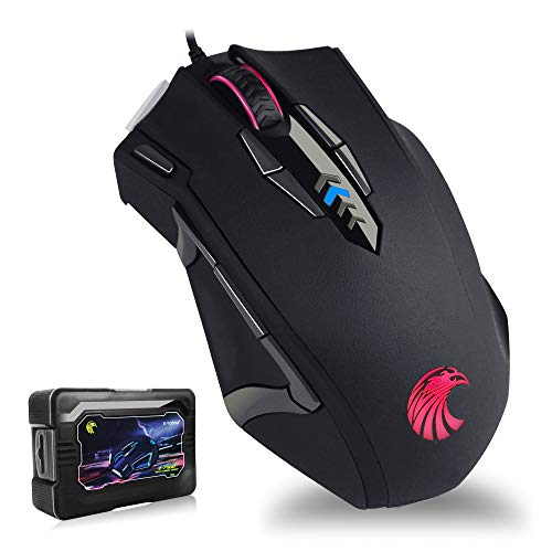 Gaming Mouse with 14 Programmable Buttons, E-YOOSO 10000 DPI High Precision Laser, Ergonomic Optical RGB Gaming Mice - Weight Tuning Set for Windows PC Gaming Z7900