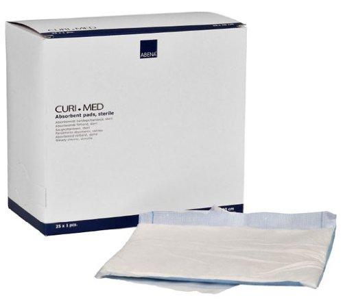 25 Stück Saugkompressen steril 400gsm Curi-Med 20 cm x 20 cm weiß/blau