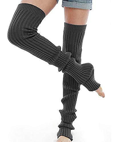Nanxson Damen Stulpen Lange Gestrickt Beinwärmer Winter Beinstulpen Strumpf für Ballett Fitness Yoga (L, dunkel grau)