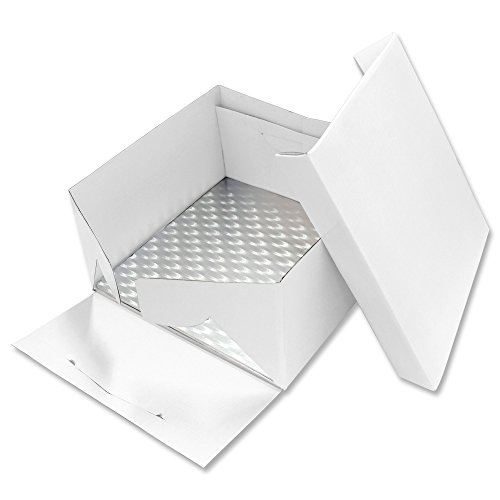 PME BBS891 Scatola per Dolci con Sottotorta Quadrato, Cartone, Bianco, 13-inch