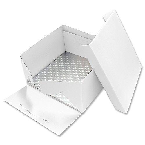 PME Quadratische Tortenplatte und Tortenschachtel 28 cm, Kunststoff, Weiß, 28 x 28 x 15.2 cm