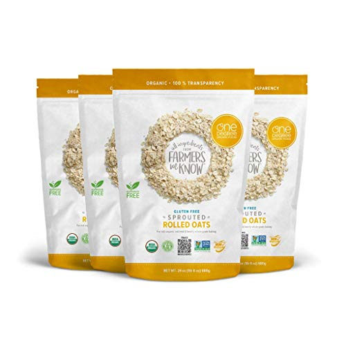 One Degree Organic Foods Sprouted Rolled Oats, USDA Organic, Non-GMO Gluten Free Oatmeal, 24 oz., 4 Pack