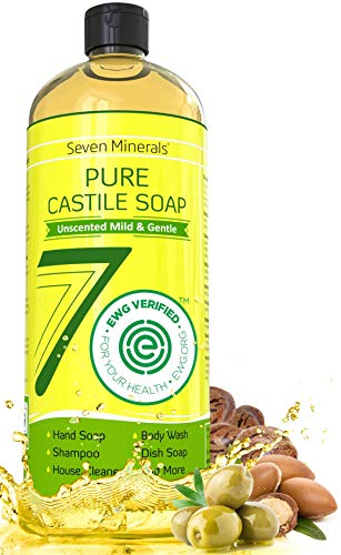 EWG Verified Castile Soap 33.8 fl oz - No Palm Oil, GMO-Free - Unscented Mild & Gentle Liquid Soap For Sensitive Skin & Baby Wash - All Natural Vegan Formula with Organic Carrier Oils