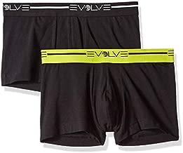 Evolve Men's Cotton Stretch No Show Trunk Underwear Multipack, Black/Black, Medium