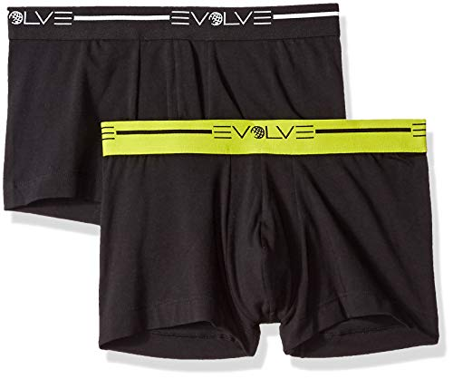 Evolve Men's Cotton Stretch No Show Trunk Underwear Multipack, Black/Black, Large