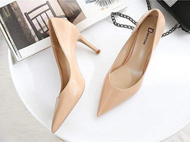 Eeayyygch Gericht Schuhe Einzelne Schuhe weibliche frische High Heels Frau zeigte fein mit Brautschuhe Hochzeit Schuhe weiblich (Farbe   34, Größe   Nude Farbe 8CM)  | Erschwinglich