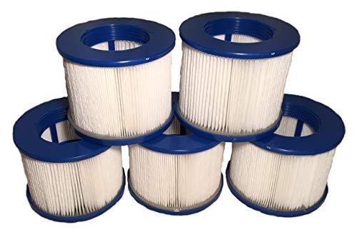 5 Filterkartuschen für Whirlpool BCool III, B-Happy, B-Light, B-Smiley, B-Lucky & B-Shine (alle zuvor genannten Modelle ab 04/2019), Costway, Infinite Spa, Aquaparx, Ospazia & GSpa