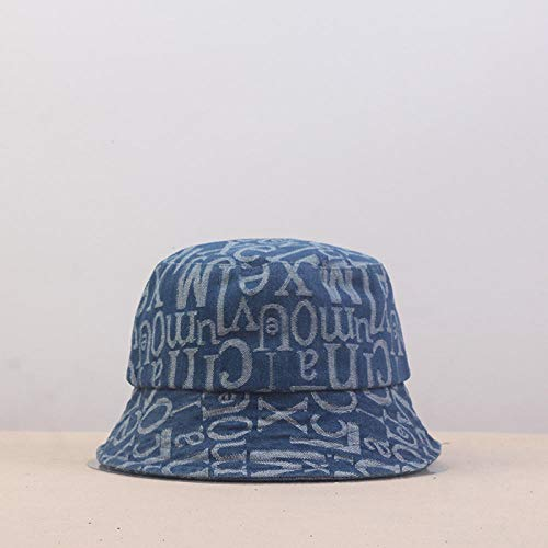 Bucket Hat Cowboy Letter Bucket Hat Fisherman Hat Outdoor Travel Hat Sun Cap Hats For Men And Women-Blue_56-60Cm