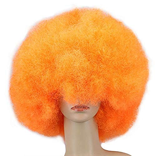 Peluca De Payaso Arcoiris, Peluca Corta Y Rizada Afro Peluca Para Fiesta De Halloween, Navidad, Peluca De Payaso De Cosplay Colorida Naranja