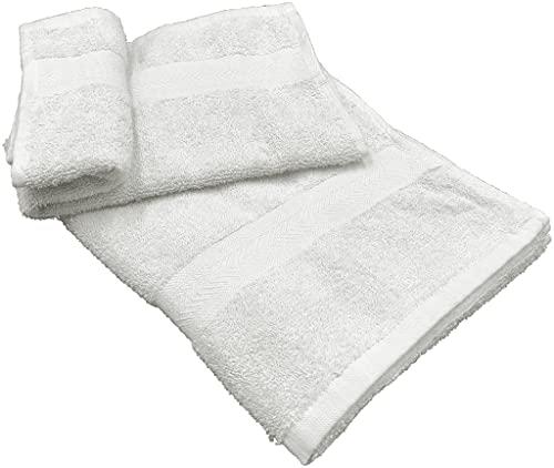 Juego de 1 + 1 toalla pequeña para invitados de 40 x 60 cm y toalla grande de 60 x 100 cm para manos, cara, lavabo, bidé, cara, pelo, cuerpo, de suave rizo de algodón (blanco óptico)