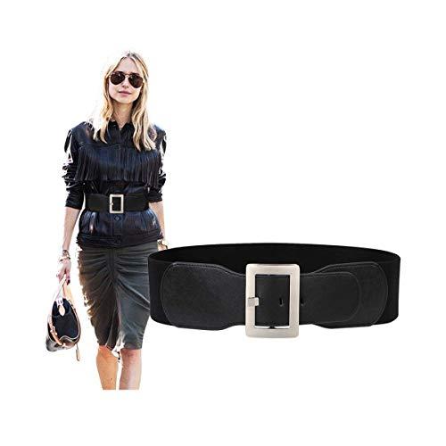Wide Elastic Belt For Women Black Waist Belt Ladies Stretch Cinch Belt For Dress With Silver Mirror Metal Pin Buckle