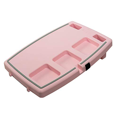 Stupid Car Tray Personal Passenger Seat Multi Function Anti Slip Rubber Food and Drink Travel Organizer Tray, Pink and Gray