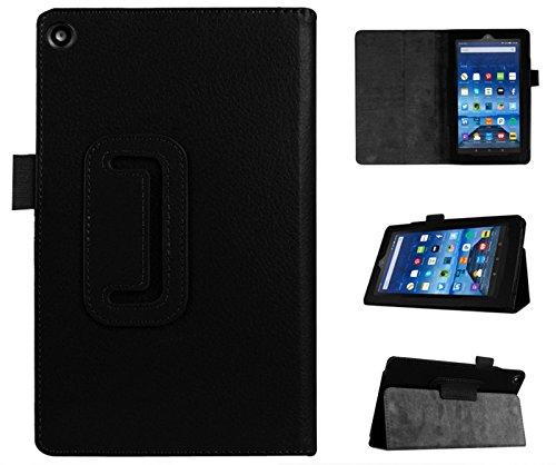 Lobwerk Schutzhülle für Amazon Fire HD 8 Tablet (2016+2017 Modell) mit 8 Zoll Flip Hülle Hülle mit Standfunktion Schwarz
