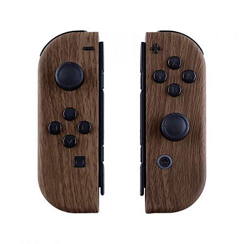 eXtremeRate Coques avec Kit de Boutons pour Nintendo Switch NS JoyCons Manette Contrôleur,Housse de Protection DIY Remplacement(Pas de Coque de Console)-Grain de Bois