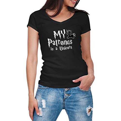My Patronus is a Unicorn Schwarz Frauen V-Neck Shirt Size M