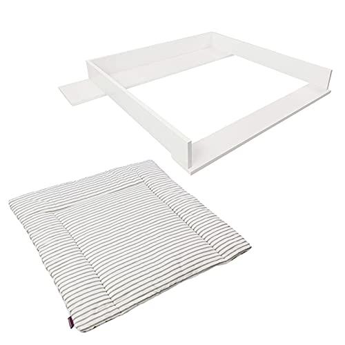 Cambiador Puckdaddy Marius 108x80x10 cm con cambiador Svea 77x75cm con cierres de plástico a presión, tablero de cambiador de madera en blanco adecuado para las cómodas Hemnes de IKEA