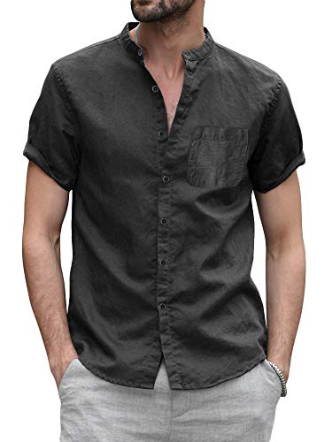 Makkrom Mens Linen Button Up Shirts Short Sleeve Casual Banded Collar Beach Shirts for Men Black