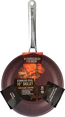 HISTORY – Forged in Fire – 10 Inch Stainless Steel Non Stick Skillet – Comfort Grip Handle - Oven Safe up to 500 - Compatiable On All Stovetops