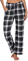 Ekouaer Women Lounge Pants Comfy Pajama Bottom with Pockets Stretch Plaid Sleepwear Drawstring Pj Bottoms Pants