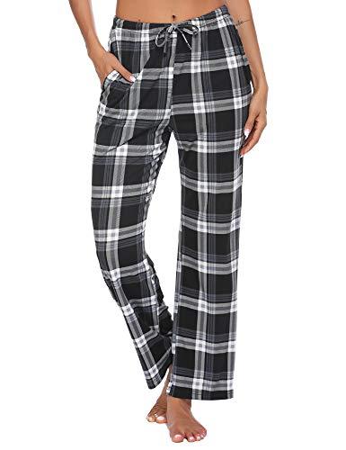 Schlafanzughose Damen Lang Pyjama Pyjamahosen Soft Nachtwäsche Hose Karierte Schlafhose Bottoms mit Elastischer Taille Freizeithose für Damen S