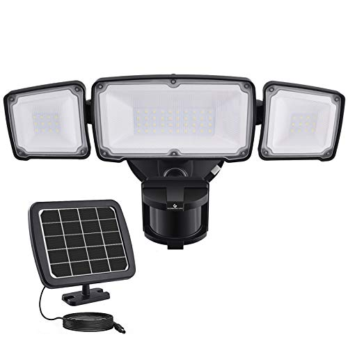 1600LM LED Solar Security Light Outdoor, Solar Motion Sensor Light with 2400mAh Battery, GLORIOUS-LITE Upgraded 3 Adjustable Head, 5500K, IP65 Waterproof Flood Light for Backyard, Pathway, Patio