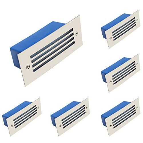 6 luces LED para escaleras, iluminación de escaleras, 230 V, IP65, acero inoxidable, 3000 K, blanco cálido, 3 W